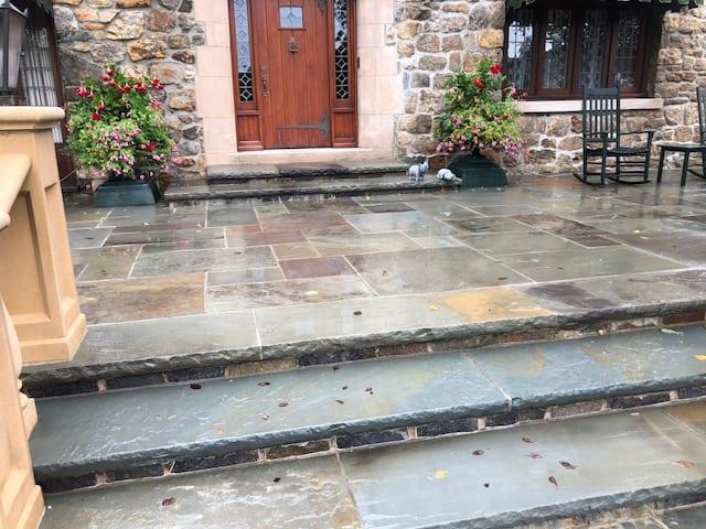 slate, tile, stones, wood patio and walkways pressure washed, roof soft washing, roof shampoo, westchester power washing 914-490-8138,